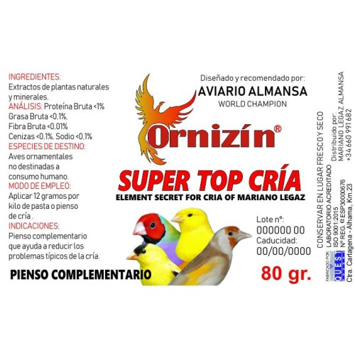 ORNIZIN SUPER TOP CRIA 200GR
