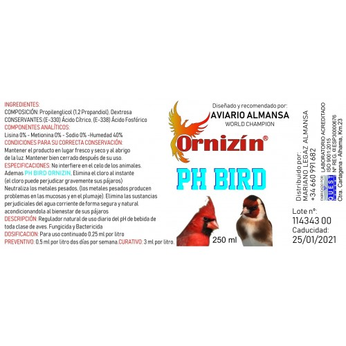 ORNIZIN PH BIRD 250ML