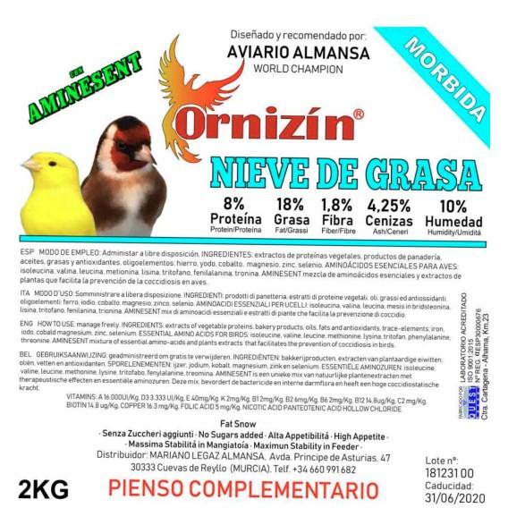 ORNIZIN NIEVE DE GRASA 2kg CUBO