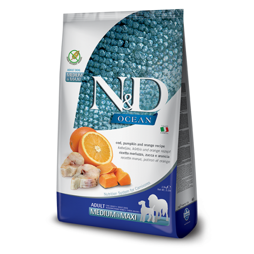 Farmina Natural & Delicious OCEAN BACALAO, CALABAZA Y NARANJA ADULTO MEDIUM & MAXI