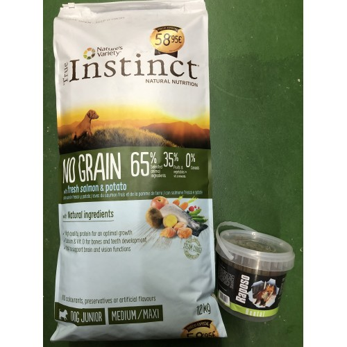 TRUE INSTINCT DOG ADULT SALMÓN GRAIN FREE 12kg + REGALÓ CUBO DENTA STIX RAPOSO 600gr